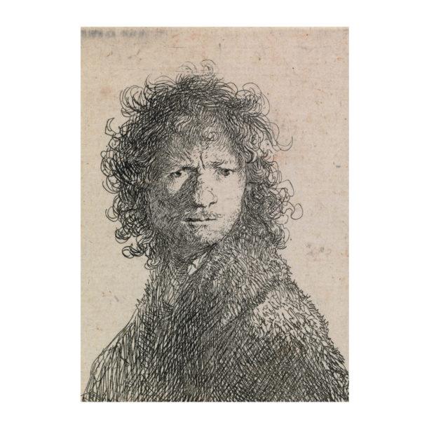 Vaalealle taustalle hahmoteltu kiharatukkaisen miehen kuva