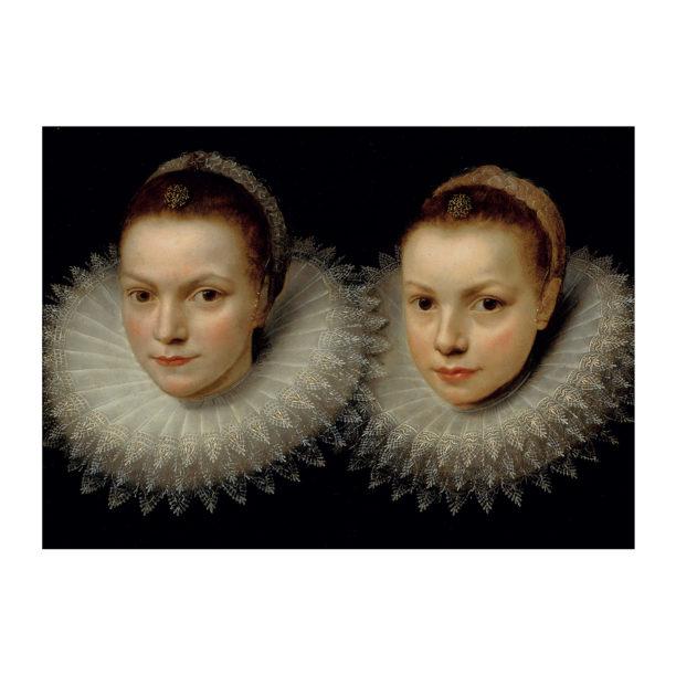 Maalauksessa kaksi tummahiuksista tyttöä valkoisissa röyhelökauluksissa mustalla taustalla