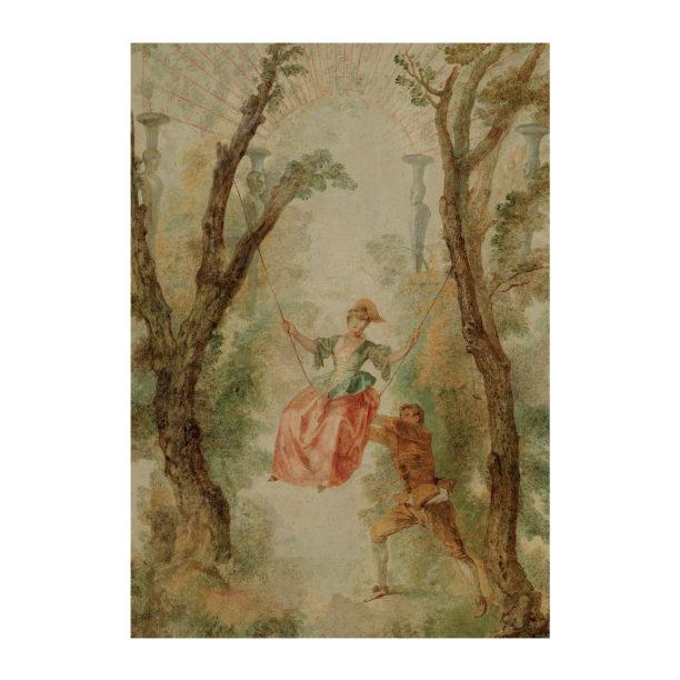 Hempeässä maalauksessa hattupäinen nainen punaisessa hameessakeinuu puiden välissä, taustalla ruskea-auinen mies antaa vauhtia
