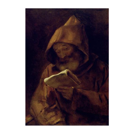 Parrakas mies ruskeassa munkinkaavussa huppu päässään lukee kädessään olevaa paperia