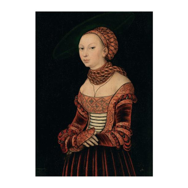 Renesanssiajan tyyliseen tiilenväriseen mekkoon pukeutunut nainen tummalla taustalla
