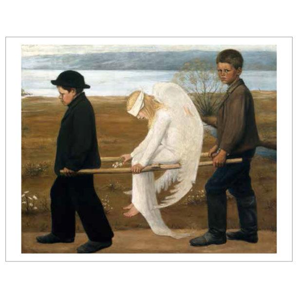 Haavoittunut enkeli teos valkoisilla reunoilla, kaksi poikaa kantaa paareilla istuvaa vaaleahiuksista enkeliä jolla on side silmillään, oikean reuna poika katsoo katsojaan