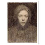 Seepian värinen lyijykynä teos jossa lähikuva Ellen Thesleffistä, valkoiset reunat
