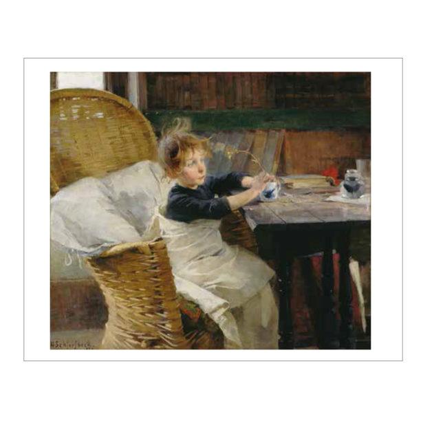 Toipilas teos valkoisilla reunoilla, lapsi istuu pöydän ääressä peittoon kääritytyneenä pidellen kasvia käsissään