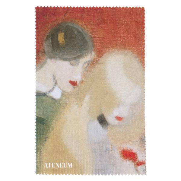 Punaisella taustalla vaaleatukkaine nainen ja hattupäinen hahmo ovat kumartuneina katsomaan jotain