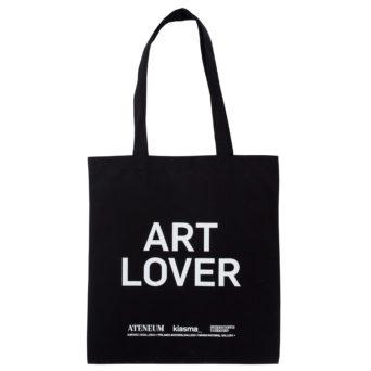 Musta kangaskassi, jossa valkoisella teksti Art Lover