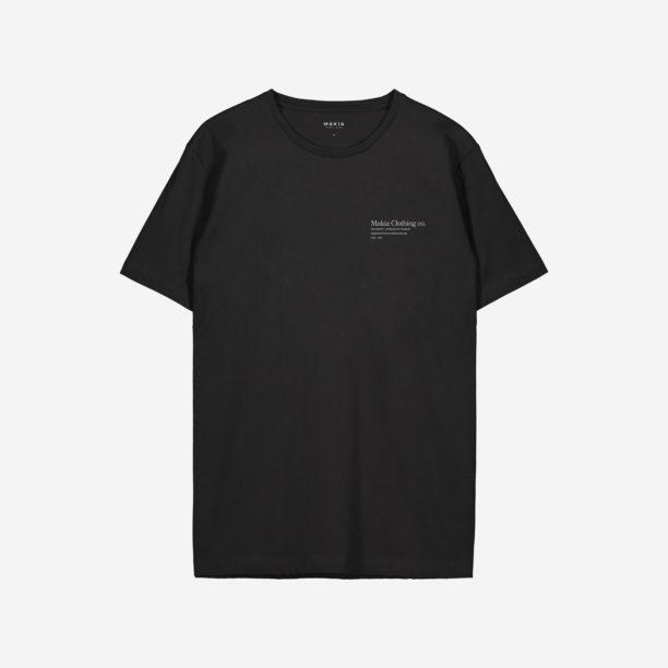 Musta t-paita, jonka rinnassa valkoinen teksti.