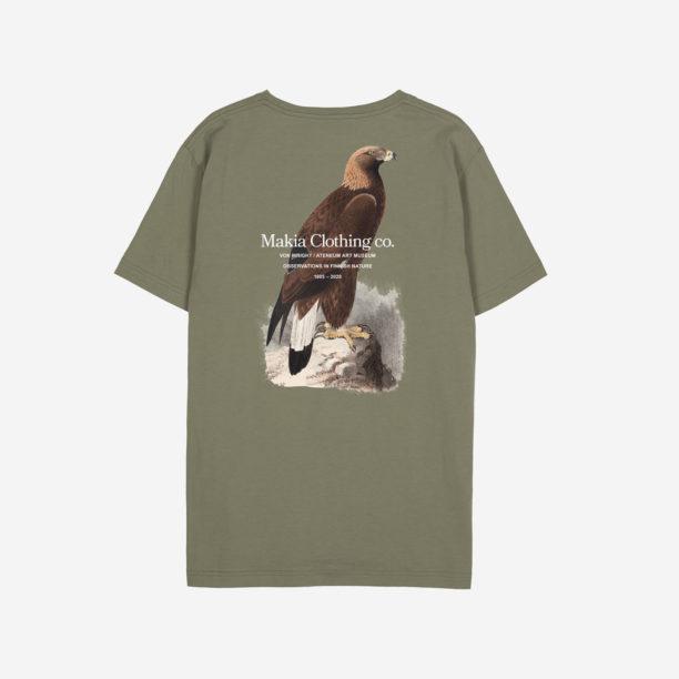Oliivinvihreä t-paita, jossa printti