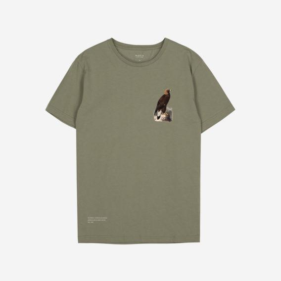 Oliivinvihreä t-paita, jossa printti kivellä istuvasta kotkasta