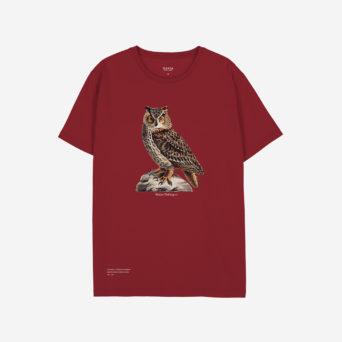 Punaisessa t-paidassa printti
