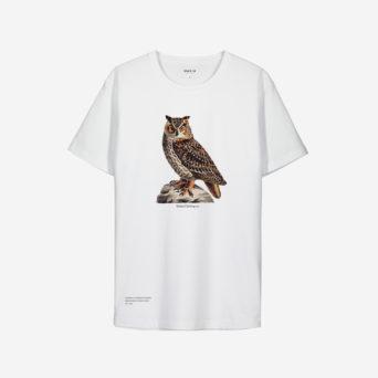 Punaisessa t-paidassa printti istuvasta pöllöstä