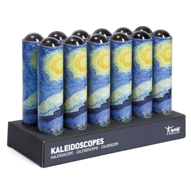 Tähtitaivaalla kuvitettuja kaleidoskooppeja myyntitelineessä