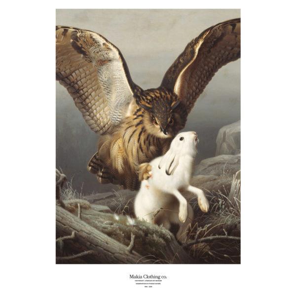 Julisteessa kotka hyökkää jäniksen kimppuun