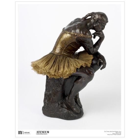 Ajattelija patsaasta versio jossa patsaalla on päällään kultainen balettimekko, sekä balettitossut ja palmikko hiuksissa