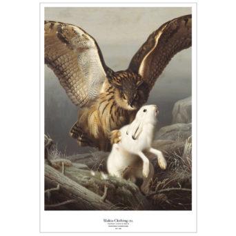 Rajattu pystykuva Huuhkaja iskee jänikseen-teoksesta, lähikuvassa huuhkaja joka on iskenyt valkoisen jäniksen selkään kiinni