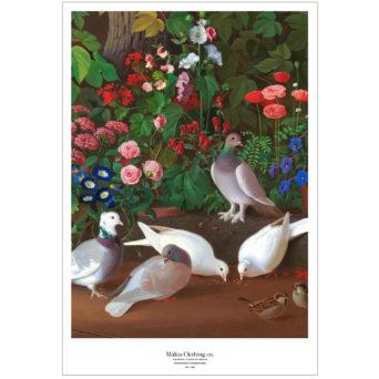 Rajattu pystykuva Kukkia ja lintuja puutarhan nurkassa teoksesta, kuvassa kaksi valkoista kyyhkystä syömässä ja kolme harmaata kyyhkystä seisomassa, sekä kaksi pientä lintua oikeassa nurkassa, alla Makia Clothing co. teksti