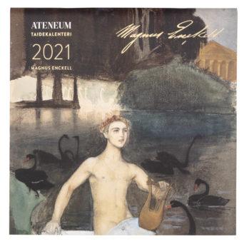 Neliönmallisen kalenterin kannessa alaston mies ja mustia joutsenia