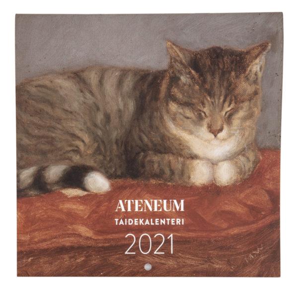 Kalenterin etukansi, jossa kissa makaa punaisella tyynyllä
