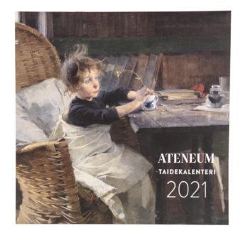 Kalenterin kannessa korituolisssa istuva lakanaan kääriytynyt tyttö