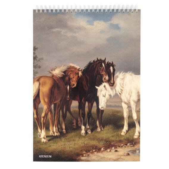 Kierrelehtiön kannessa maalaus hevosista