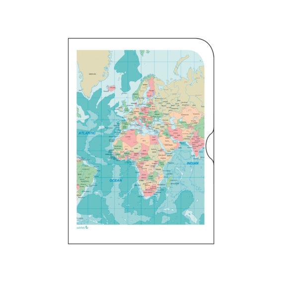 Paperinen kansio karttakuvalla