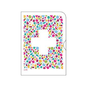 Paperinen kansio, jossa värikkäällä pohjalla valkoinen risti