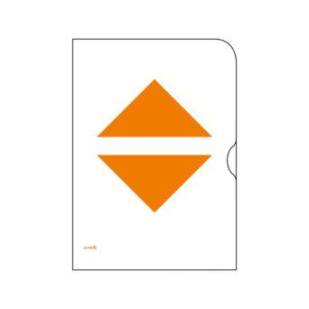 Paperinen kansio, jossa kaksi oranssia kolmiota