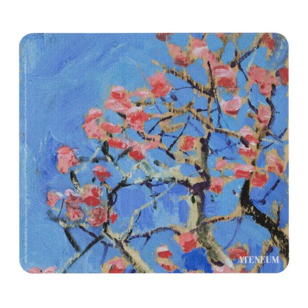 Hiirimatto, jossa punakukkainen puun oksa taustallaan sininen taivas