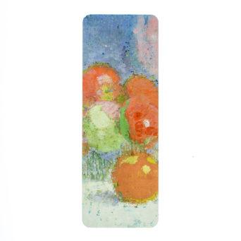 Kirjanmerkki, jossa punaisia omenia