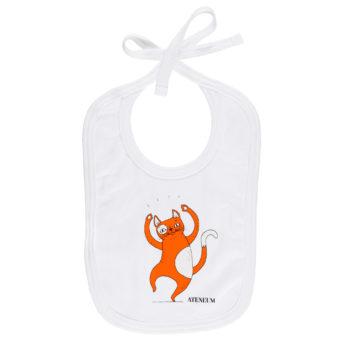 Valkoinen vauvan ruokalappu, jossa oranssin kissan kuva