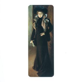 Kirjanmerkissä nainen mustassa puvussa ja hatussa