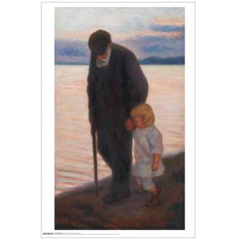 Vanha mies kävelykepin kanssa kävelee pienen lapsen kanssa käsi kädessä