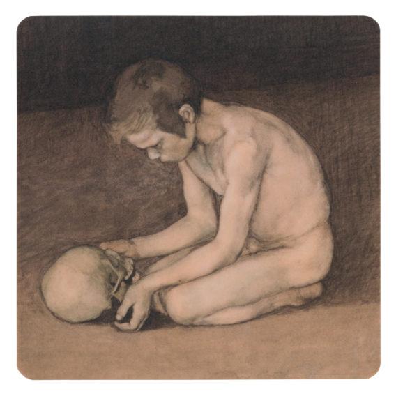 Lasinalunen, jossa alaston poika polvillaan, käsissään pääkallo