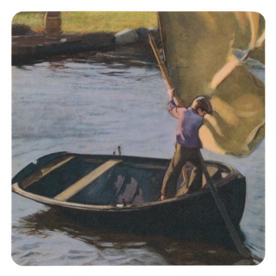 Neliönmallinen lasinalunen, jossa poika veneessä