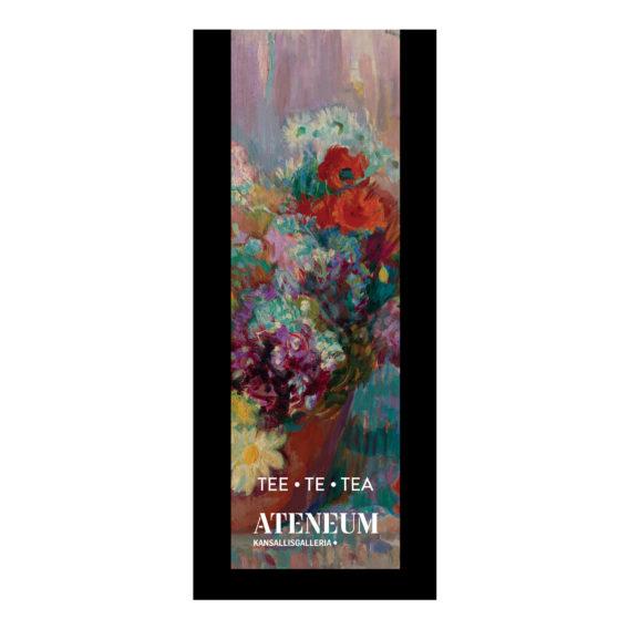 Musta teepakkaus, jossa värikkäitä kukkia punaisessa maljakossa
