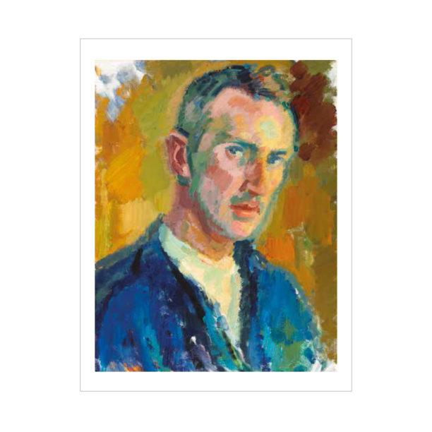 Sinipukuisen miehen kuva keltaisella taustalla