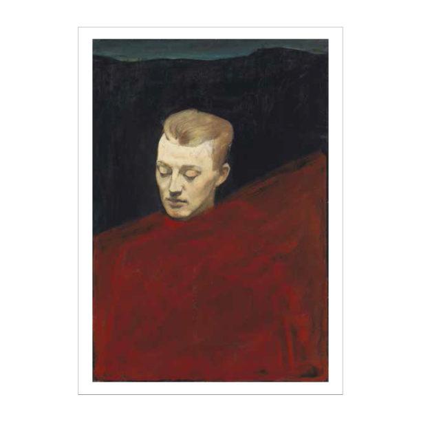 Miehen pää mutslla ja puneisella taustalla