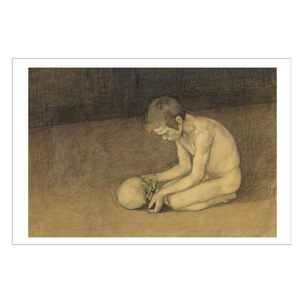Alaston poika polvillaan käsissään pääkallo