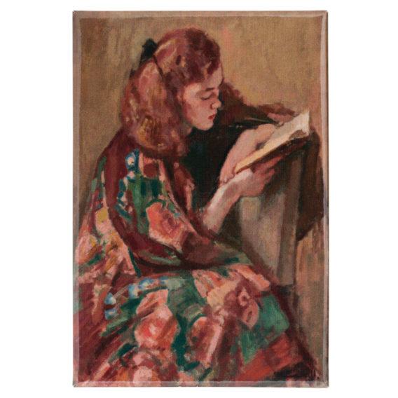 Magneetti, jossa tyttö lukemassa