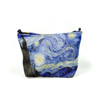 Kankainen meikkipussi jossa sinisävyinen taideteoksen kuva