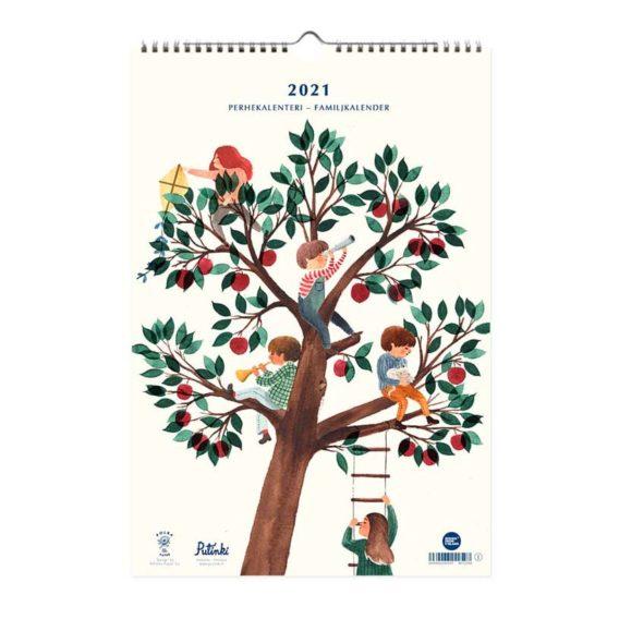 Kalenteri jonka kannessa puu