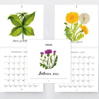 Kuva kolmesta kalenteriaukseamasta, joissa suomalaisia kukkia