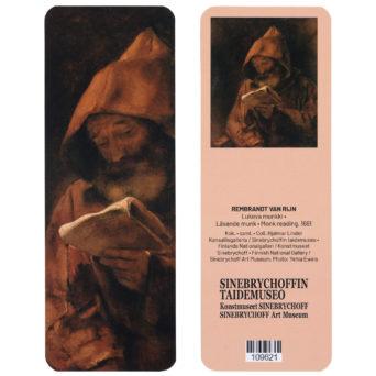 kirjanmerkki molemmilta puolilta kuvana lukeva munkki