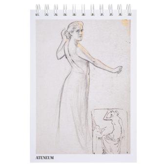 Vaalean luonnoslehtiön kannessa luonnos seisovasta naisesta
