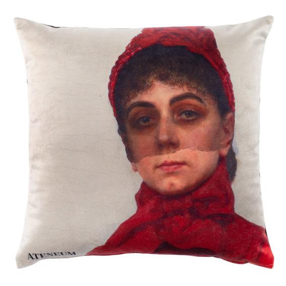 Tyynyssä punahattuinen nainen