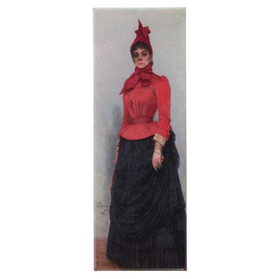 Magneetissa nainen punaisessa puserossa ja mustassa hameessa