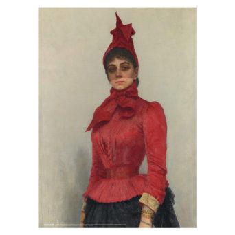 Juliste, jossa punaisen pukeutunut nainen musta harso kasvoillaan