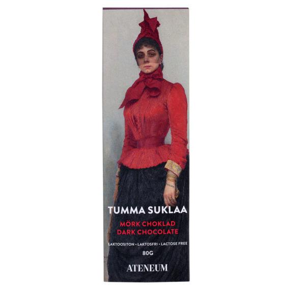 Tumman suklaan pakkaus, jossa punatakkinen nainen