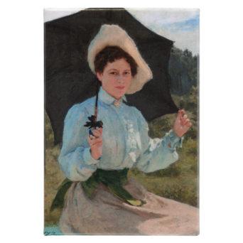 Magneetissa nainen aurinkovarjon kanssa