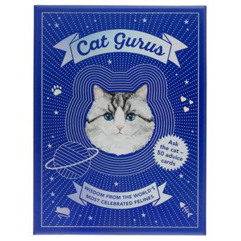 Sinisellä taustalla kissan naama ja hopeanväristä tekstiä